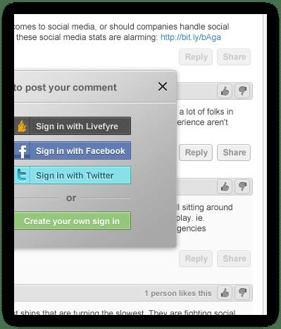 Livefyre sign in options