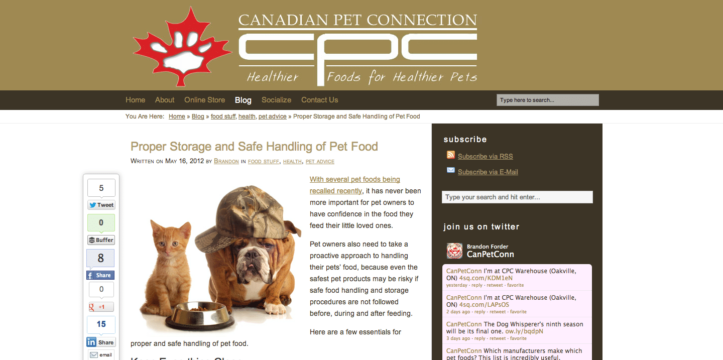 Canadian Pet Connection blog