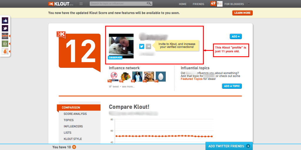 Klout Influence Report 11 year old