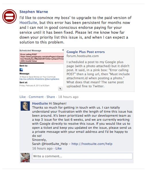 Hootsuite Facebook positive response