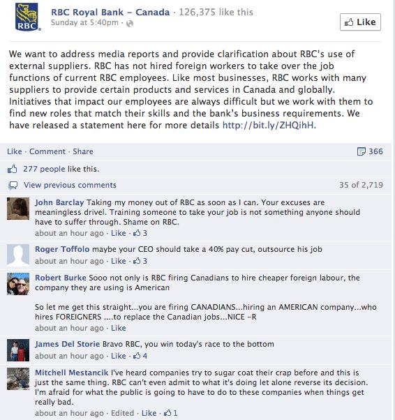 RBC Facebook page