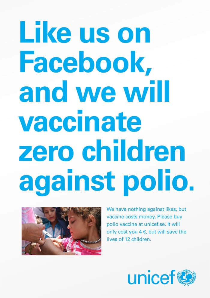 UNICEF Facebook Likes campaign
