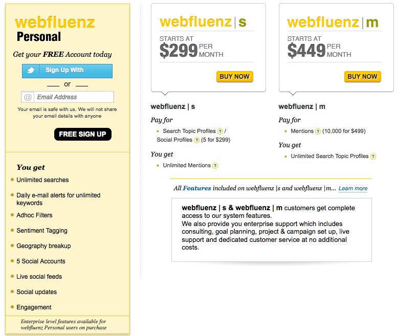 Webfluenz pricing