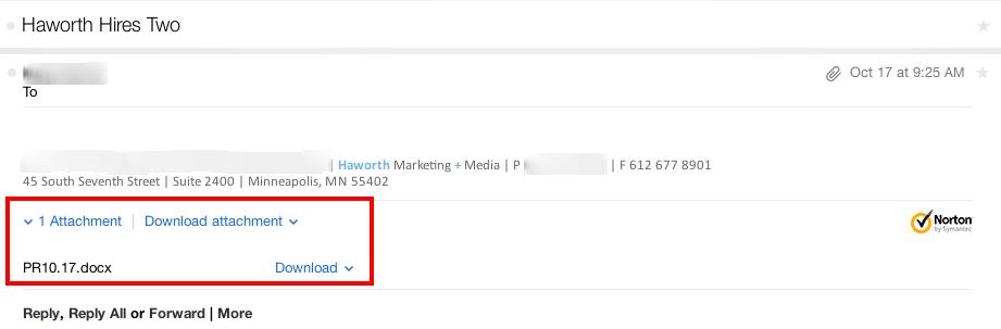 Haworth email pitch