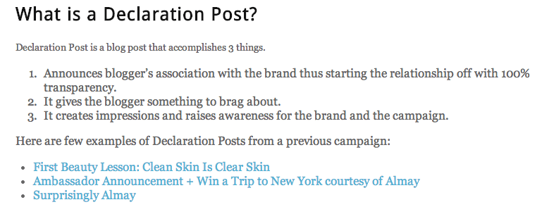 Triberr declaration post