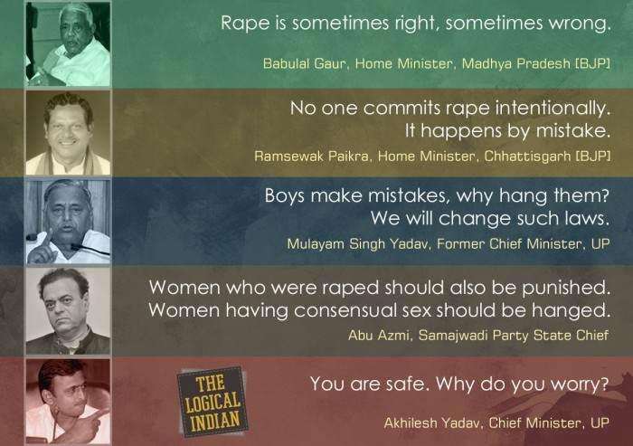 Indian leaders rape beliefs