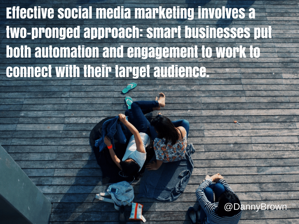 Effective social media marketing involves a two-pronged approach: smart businesses put both automation and engagement to work to connect with their target audience.