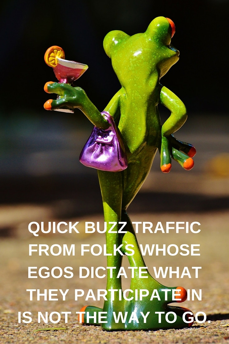 Quick buzz traffic from folks whose egos dictate what they participate in is not the way to go.